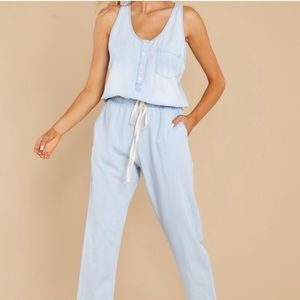 Play It Back Light Wash Chambray Jumpsuit